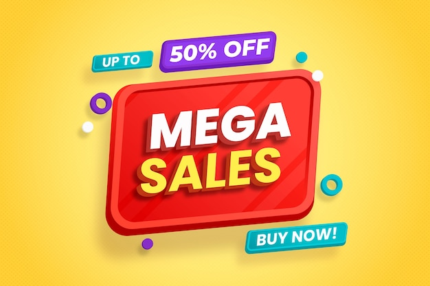 3d sales background with colorful elements