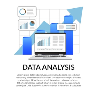 3d-экран ноутбука диаграмма, диаграмма, стрелка, бар, инфографика для анализа данных