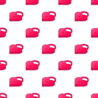 흰색 배경에 고립 된 심장 자물쇠의 3d 원활한 패턴
