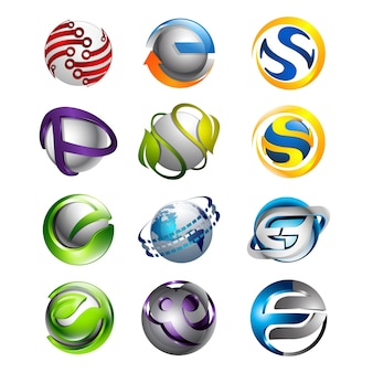 3d set abstract round glossy logo spheres various