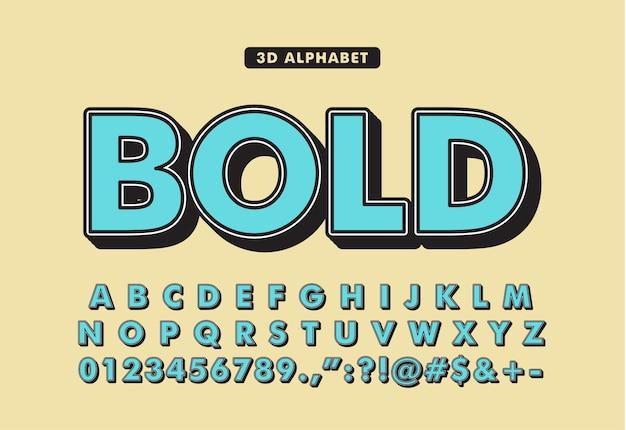 3d set custom bold font alphabet
