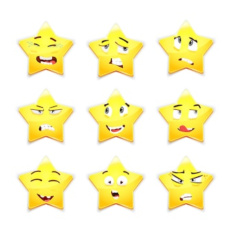 3d set of nine cute smiley stars with different facial expressions