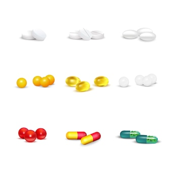 알약과 흰색 배경에 다양 한 모양과 색상의 캡슐의 3d 세트