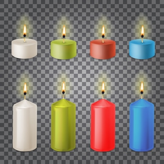3d set realistic paraffin candles isolated on transparent
