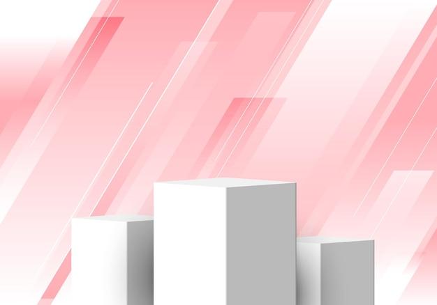 3d set white pedestal realistic empty showcase display on geometric stripes lines diagonal pink background. design for product presentation, mockup, etc. vector illustration