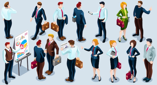 Изометрические люди модный бизнес 3d set иллюстрация