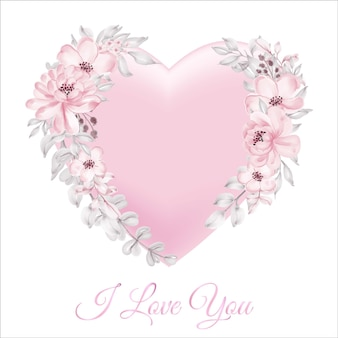 3d shape valentine pink card decoration with happy valentine word script watercolor flower