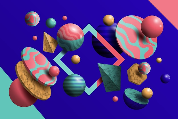 3d shapes floating background realistic