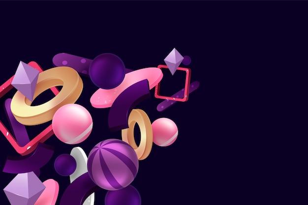 3d shapes floating background