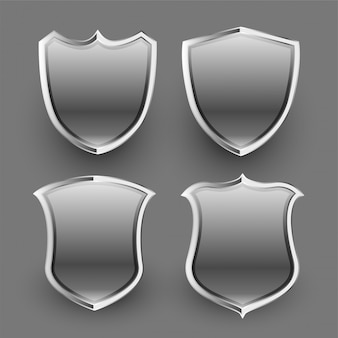 3d shiny metallic shield and badges set