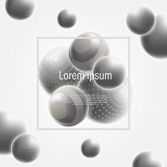 3d shiny silver ball abstract decoration for background template