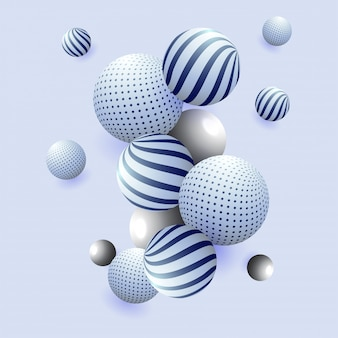3d shiny spheres abstract on blue background