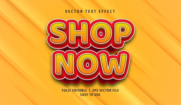 3d shop now text effect, editable text style