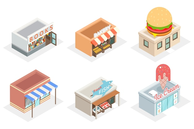 3d shops and stores in isometric view