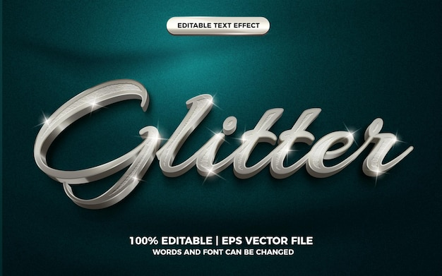 3d silver glitter text style effect template editable