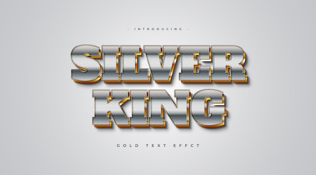 3d silver and gold text style with textured effect