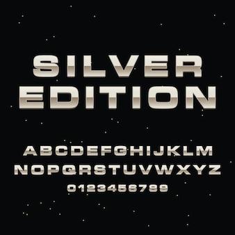 3d silver lettering alphabet premium vector