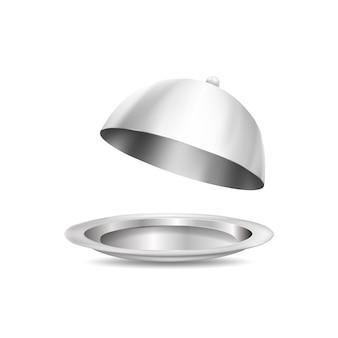 3d серебряная пластина и крышка еды, изолированные на белом фоне. реалистичные векторные иллюстрации.