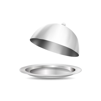 3d silver plate and food cover isolated on white background. realistic vector illustration.