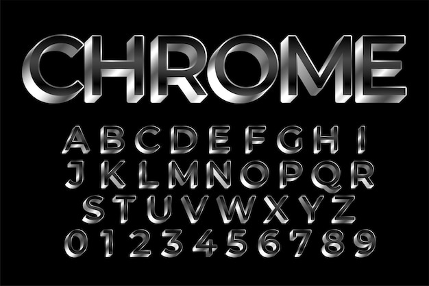 3d silver shiny text effect set