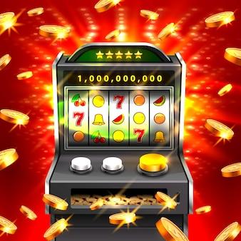 3d игровые автоматы выигрывают джекпот, изолированные на фоне светящейся лампы. векторная иллюстрация