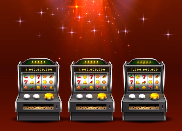 3d slots machines on shiny red