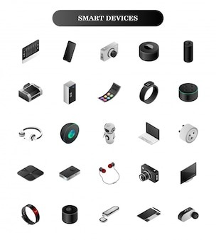 3d smart devices set on white .