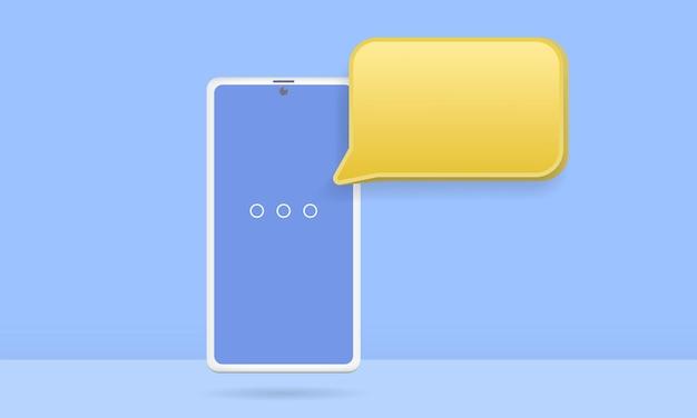 떠 다니는 채팅 거품이있는 3d 스마트 폰, 소셜 미디어 채팅 앱