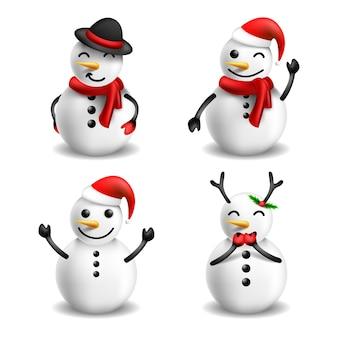 Коллекция персонажей 3d снеговик на белом фоне вектор