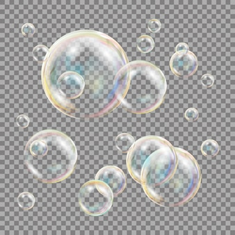 3d soap bubbles transparent
