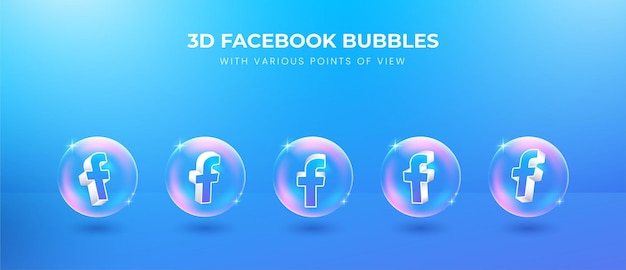 3d social media facebook icon with various points of view