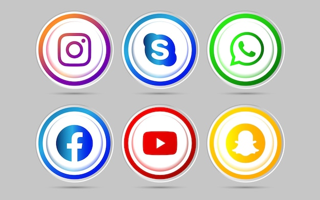 3d social media icon button with gradient effect set for ux ui online use
