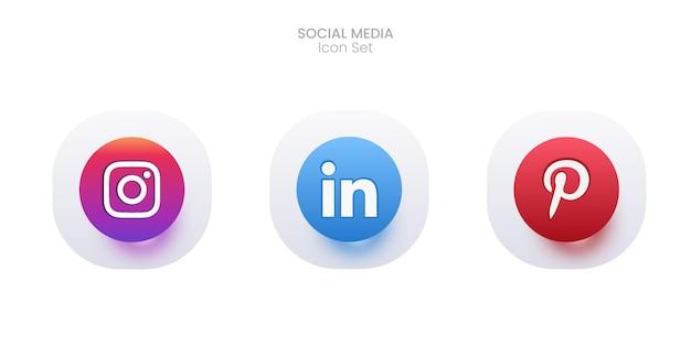 Набор иконок 3d социальных сетей