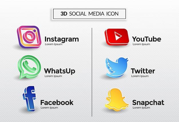 3dソーシャルメディアアイコン