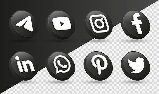 3d логотипы значков социальных сетей в современном черном круге facebook instagram network logo icon