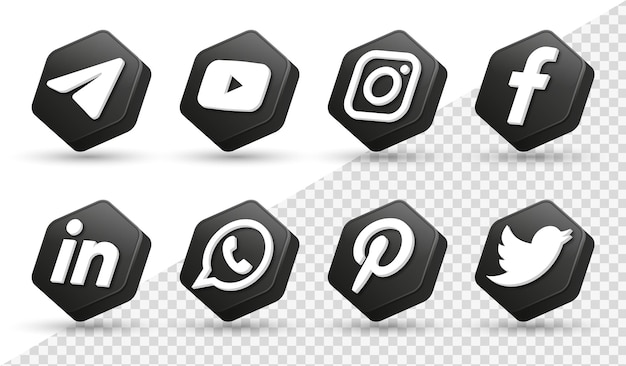 3d social media icons logos in modern black polygon frame facebook instagram networking icon