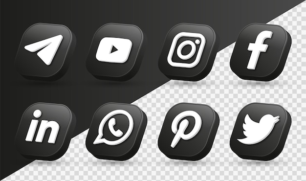3d social media icons logos in modern black square facebook instagram networking icon