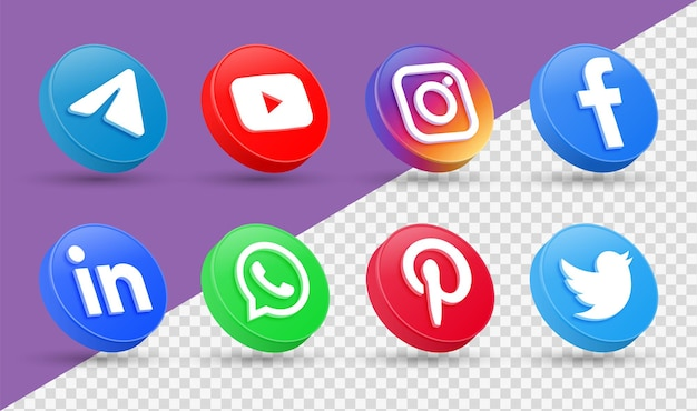 3d social media icons logos in modern style circle facebook instagram networking icon