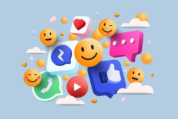 3d-платформа социальных сетей, концепция онлайн-приложений для социальных сетей, смайлики, сердца, чат на голубом фоне. 3d векторные иллюстрации