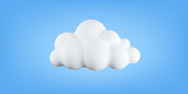3d soft cotton cartoon cloud isolated on blue background. realistic bubble cloud or cute circle shaped smoke. vector illustration of 3d rendering of fluffy cumulus fog.