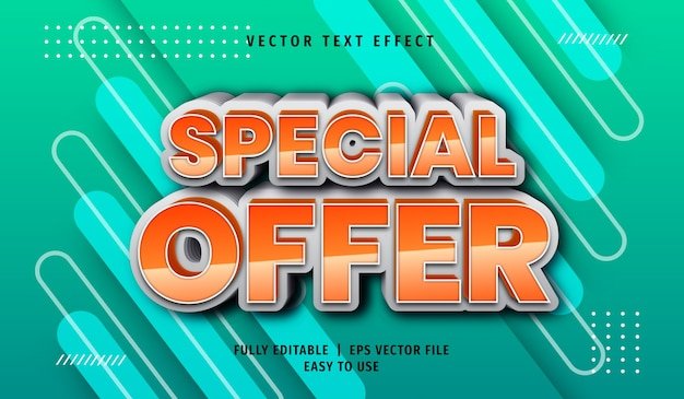 3d special offer text effect, editable text style