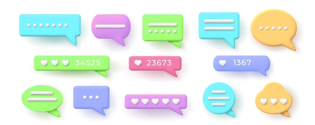 3d speech bubbles for chat messages and like button. balloon with social network hearts rating. conversation notification frame vector set