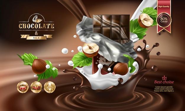 3d-брызги расплавленного шоколада и молока с падающими кусками шоколадных батончиков.