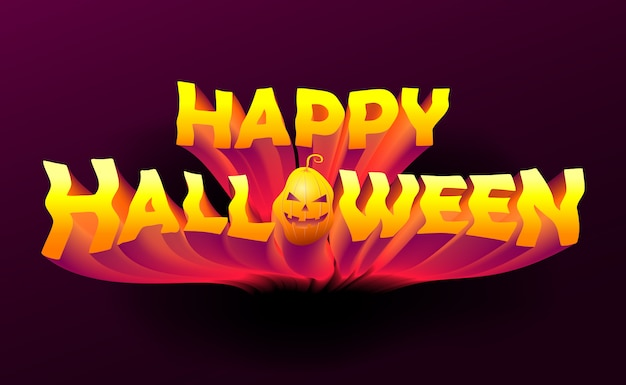 3d spooky happy halloween text lettering on dark background