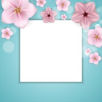 3d春と夏のピンクの花