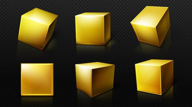 Scatole dorate quadrate 3d nelle viste di prospettiva