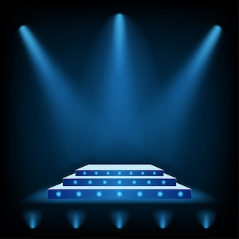3d stage podium with blue spotlight and floor ligh