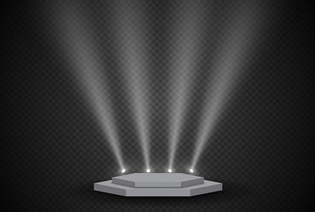 장면 조명 빛, 투명 플래시 조명 효과, 햇빛 특수 렌즈와 함께 3d 무대. 밝은 금색 번쩍임 및 스포트라이트가 포함 된 조명.