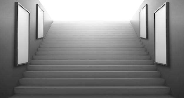 壁に広告を出すための明るい空の白いlcdスクリーンに向かう3d階段
