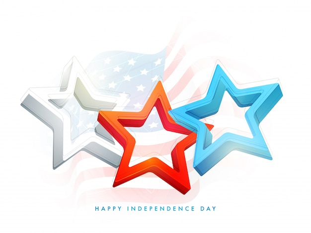 3d stars in usa flag colors for 4th of july, happy independence day celebration.